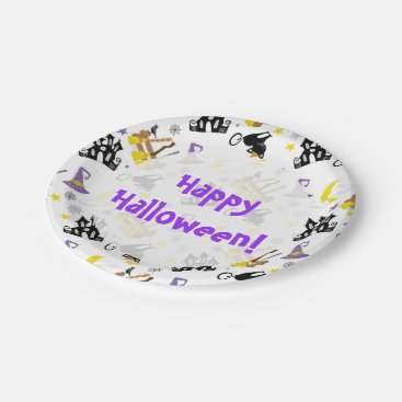 Halloween Themed Halloween House Black Cat Witch's Brooms and Hat Paper Plate