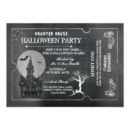 Halloween House Party Invite Horror Chalk Ticket