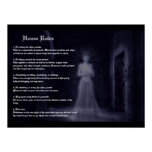 Halloween House Rules Poster