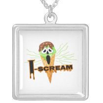 Halloween I Scream Cone square Silver Plated Necklace