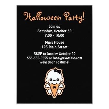 Halloween Themed Halloween Ice Cream Party Invitations
