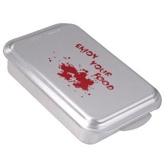 "Halloween idea:""Enjoy your food"" written in blood, Cake Pan"