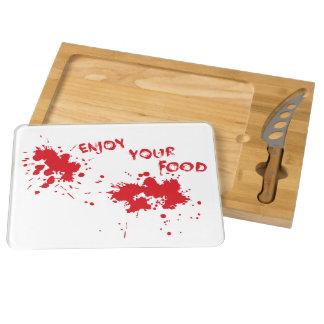 """Halloween idea: """"Enjoy your food"""" written in blood Cheese Board"""