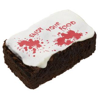 "Halloween idea: ""Enjoy your food"" written in blood Chocolate Brownie"