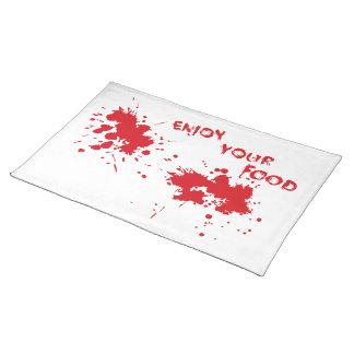 "Halloween idea: ""Enjoy your food"" written in blood Placemat"