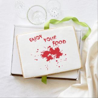 """Halloween idea: """"Enjoy your food"""" written in blood Shortbread Cookie"""