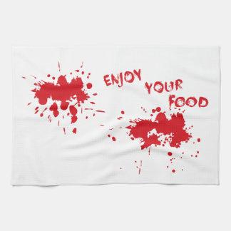 """Halloween idea: """"Enjoy your food"""" written in blood Towel"""