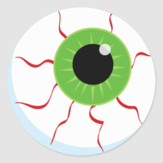 Halloween idea: Green zombie eye, Classic Round Sticker