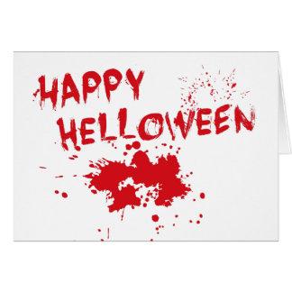 "Halloween idea: ""Happy Helloween"" written in blood Greeting Cards"