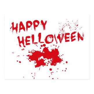 """Halloween idea: """"Happy Helloween"""" written in blood Post Cards"""