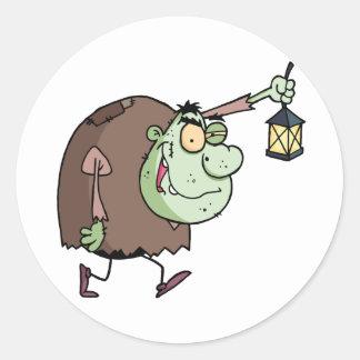 Halloween Igor with lantern Classic Round Sticker