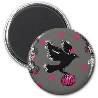 halloween illustration of a raven and a pumpkin magnet