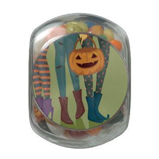 Halloween Illustration Of Girls Glass Candy Jars