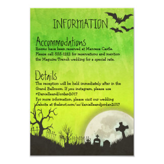 Halloween Information card for wedding in green