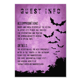 Halloween Information Card with bats