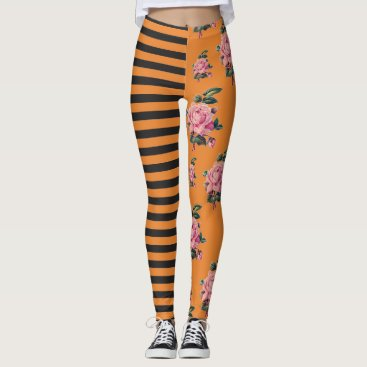 Halloween Themed Halloween inspired Stripe and Rose Floral Leggings