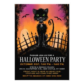 Halloween invita - al gato asustadizo en cementeri comunicado personalizado