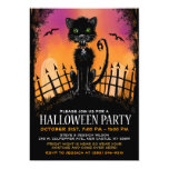 Halloween invita - al gato asustadizo en comunicado personalizado