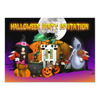 Halloween Invitation Card - Cartoon Halloween Invi