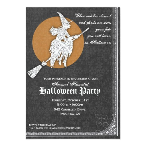 "Halloween Invitation Elegant Witches Ball 5"" X 7"" Invitation Card"