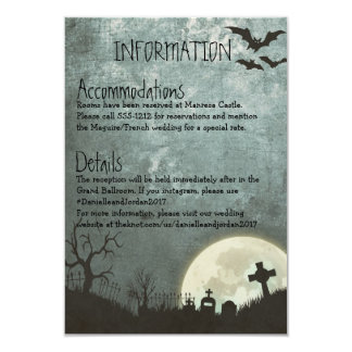 Halloween invitation, Information card for wedding