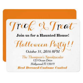 Halloween Invitation  Trick or Treat 5x7 Card