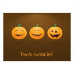 Halloween invitation with 3 cute pumpkins