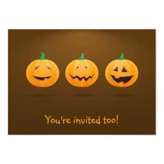 Halloween invitation with 3 cute pumpkins