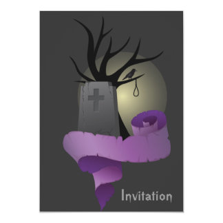 Halloween invitation with gravestone and banner