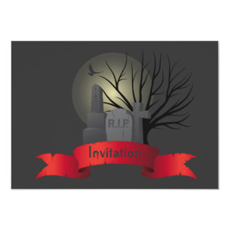 Halloween invitation with gravestones and banner