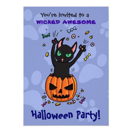 Halloween invite black cat jumping from pumpkin
