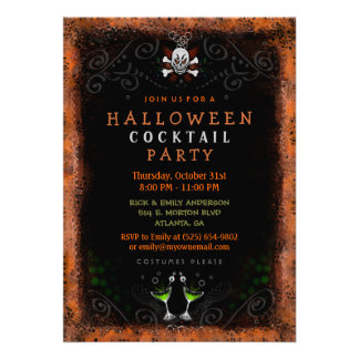 Halloween Invite - Border with Skull & Cocktails
