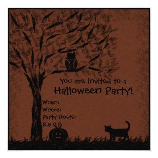 Halloween invite owl, cat & pumpkin