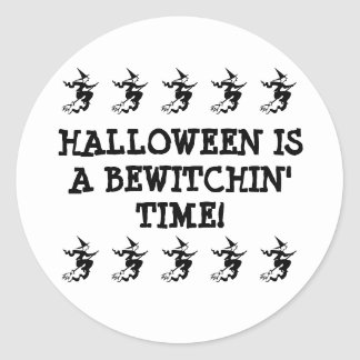 Halloween Is A Bewitchin' Time! Flying Witches Classic Round Sticker