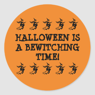 Halloween Is A Bewitching Time! Flying Witches Classic Round Sticker