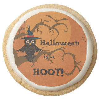 Halloween is a Hoot Owl Party Favors Round Shortbread Cookie