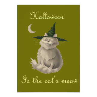 """Halloween is the Cat's Meow 5"""" X 7"""" Invitation Card"""