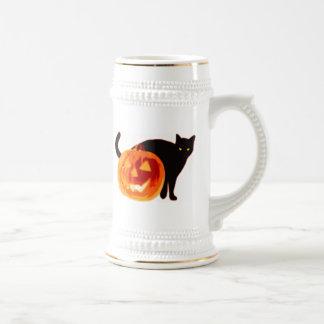 Halloween Jack-O-Lantern and Black Cat Mugs