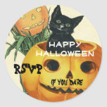 HALLOWEEN Jack O' Lantern and Black Cat Round Stickers