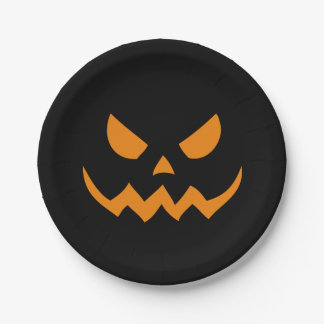 Halloween Jack-o-lantern Black Paper Plates 7 Inch Paper Plate