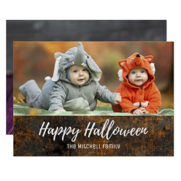 Halloween Themed Halloween Jack O Lantern Candy Corn Photo Card