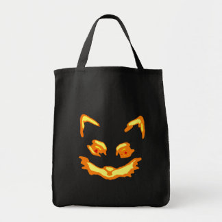 Halloween Jack O Lantern Cat Face Tote Bag