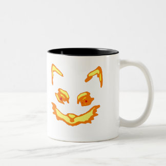 Halloween Jack O Lantern Cat Face Two-Tone Coffee Mug