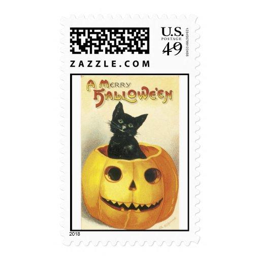 Halloween Jack-o-Lantern & Cat Stamps