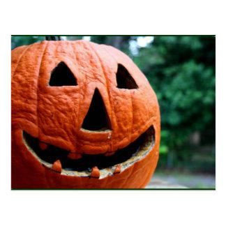 Halloween Jack O Lantern close up Post Cards