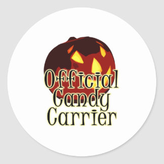 Halloween Jack O Lantern Official Candy Carrier Classic Round Sticker