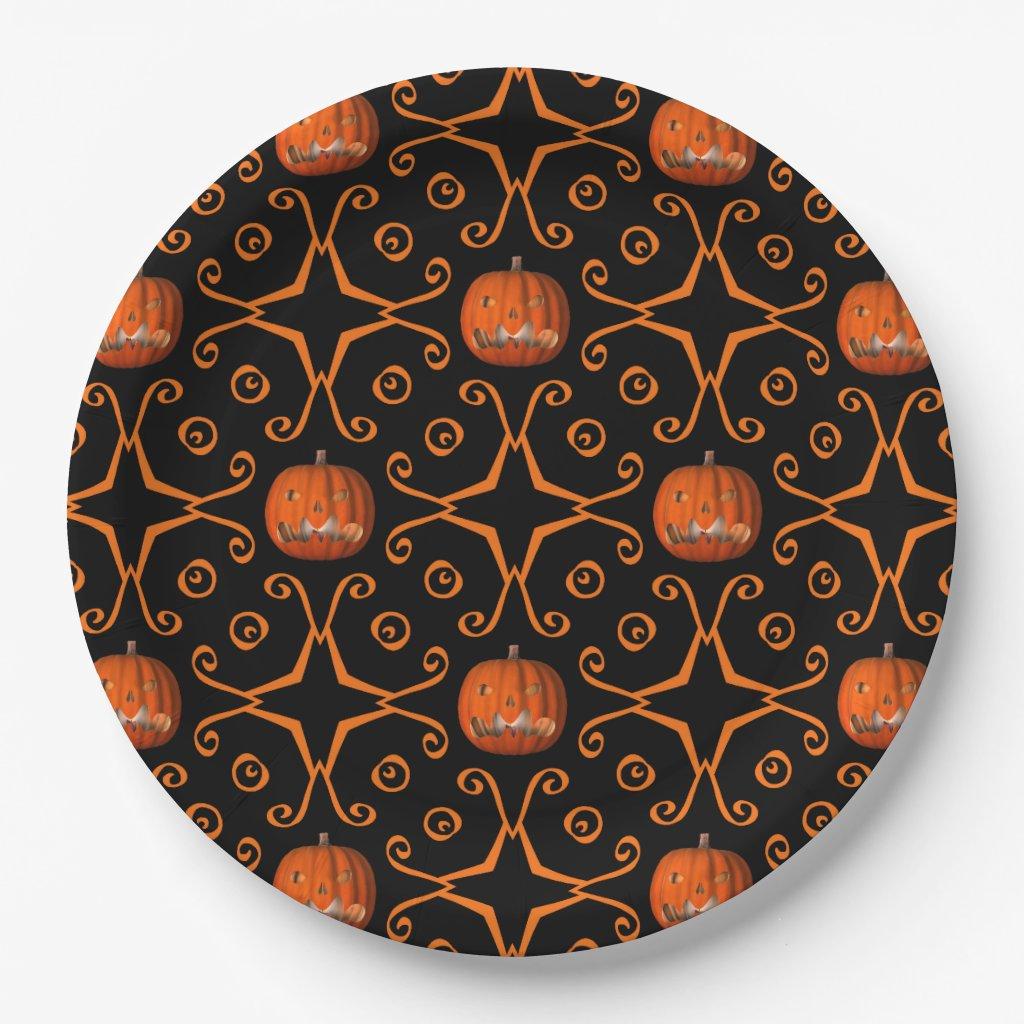 Halloween jack o lantern paper plate