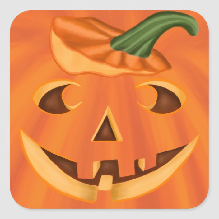 Halloween Jack O Lantern Pumpkin Carving Face Square Sticker Zazzle Com