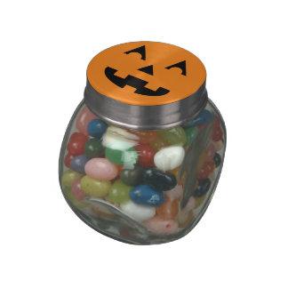 Halloween Jack O Lantern Pumpkin Face Glass Candy Jars