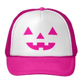 Halloween Jack O Lantern Pumpkin Face Pink Trucker Hat